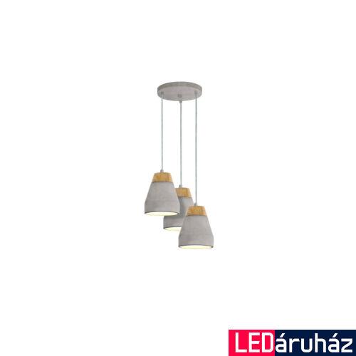 EGLO 95526 TAREGA Barna-szürke beton háromágú függeszték, 25cm átmérő, E27 foglalat + ajándék LED fényforrás