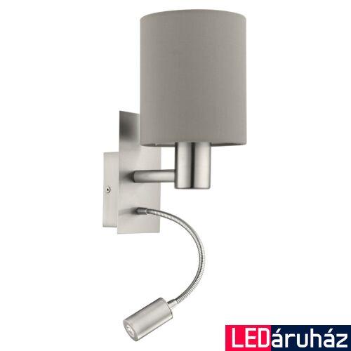 EGLO 96478 PASTERI fali lámpa, kapcsolóval, szürke, -;380 lm, 3000K melegfehér, E27+LED foglalattal, IP20