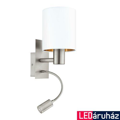 EGLO 96484 PASTERI fali lámpa, kapcsolóval, fehér, -;380 lm, 3000K melegfehér, E27+LED foglalattal, IP20