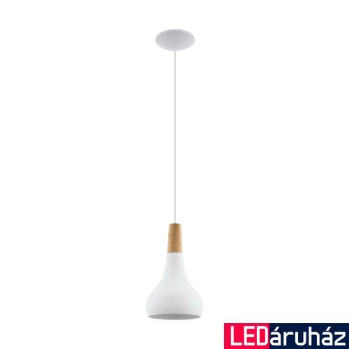 EGLO 96981 SABINAR Fehér/fa függesztett lámpa, E27 foglalattal, 18cm átmérő, 60W + ajándék LED fényforrás