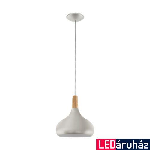 EGLO 96985 SABINAR Ezüst/fa függesztett lámpa, E27 foglalattal, 28cm átmérő, 60W + ajándék LED fényforrás