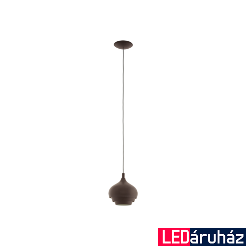 EGLO 97215 CAMBORNE Sötétbarna függeszték, E27 foglalattal, 19cm átmérő, 110cm, 1x60W + ajándék LED fényforrás