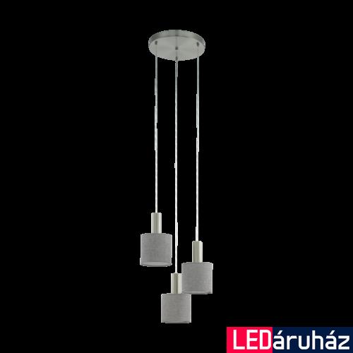EGLO 97673 CONCESSA 2 Szürke függeszték, 3 db. E27 foglalattal, 42cm átmérő, 150cm, 3x60W + ajándék LED fényforrás