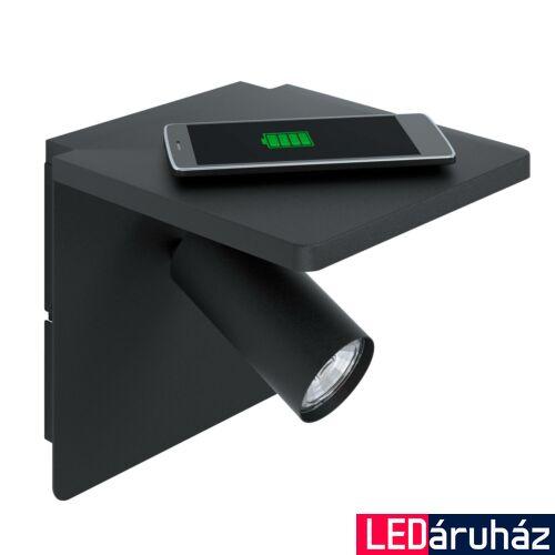 EGLO 98263 CIGLIE fali lámpa, kapcsolóval, QI töltővel, fekete, GU10 foglalattal, max. 1x4,5W, IP20