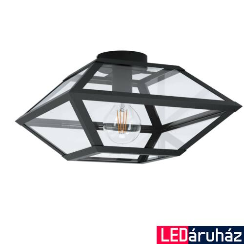EGLO 98356 CASEfaBRE Fekete, üveg mennyezeti lámpa, E27 foglalattal, 37x21,5cm + ajándék LED fényforrás