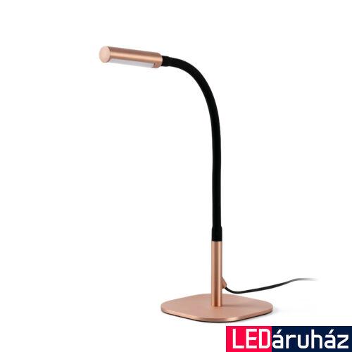 FARO SERP asztali lámpa, réz, 3000K melegfehér, beépített LED, 4W, IP20, 50067