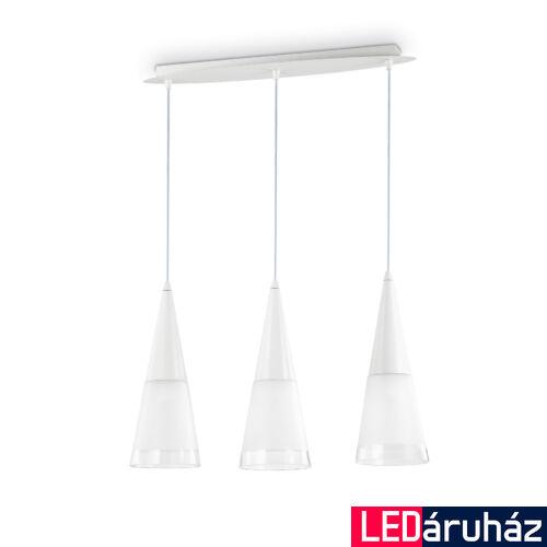 IDEAL LUX CONO függesztett lámpa 3 db. E14 foglalattal, max. 3x40W, 60 cm hosszú, fehér 112381