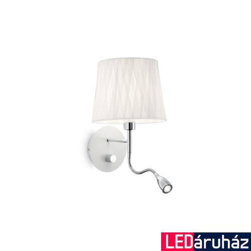 IDEAL LUX EFFETTI fali lámpa E14 foglalattal és LED olvasólámpával, max. 40W, 1W, 72 lm, 3000K melegfehér, 20x48 cm, fehér 132976
