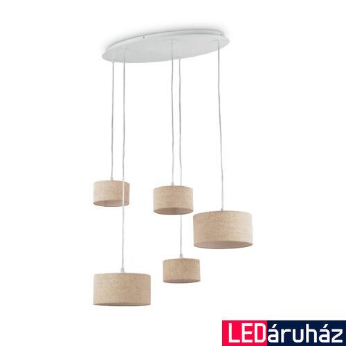 IDEAL LUX EKOS függesztett lámpa 5 db. G9 foglalattal, max. 5x40W, 74 cm hosszú, bézs 110868