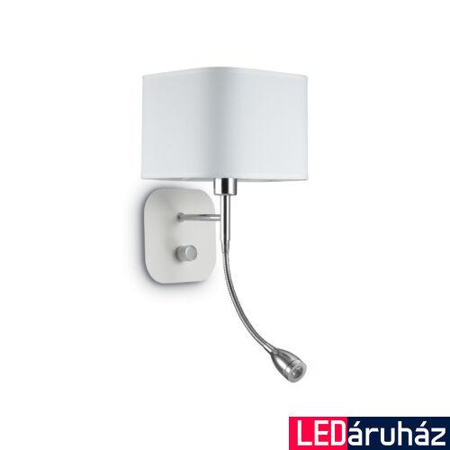IDEAL LUX HOLIDAY fali lámpa E14 foglalattal, LED olvasólámpával, max. 40W, 1W LED, 45 lm, 3000K melegfehér, 18x40 cm, fehér 124162