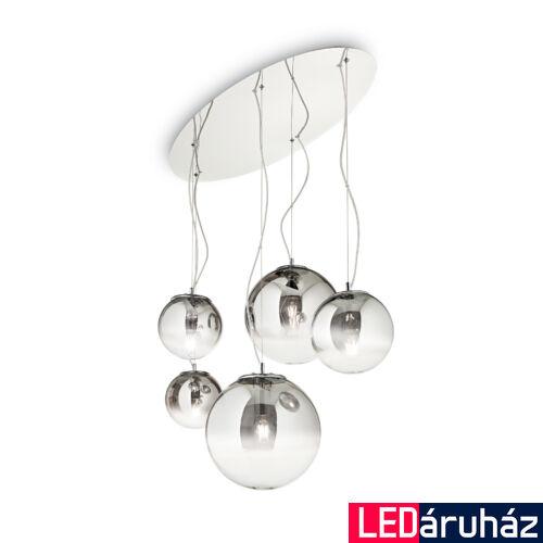 IDEAL LUX MAPA függesztett lámpa 5 db. E27 foglalattal, max. 5x60W, 105 cm hosszú, füstüveg 140759
