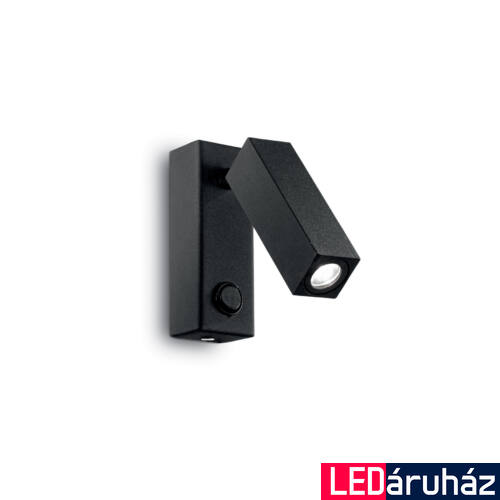 IDEAL LUX PAGE fali lámpa, beépített LED, 3W, 210 lm, 3000K melegfehér, 4x11 cm, fekete 142241