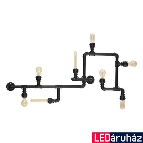 IDEAL LUX PLUMBER mennyezeti lámpa 8 db. E27 foglalattal, max. 8x42W, 110,5x56 cm, fekete 136714