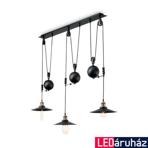 IDEAL LUX UP AND DOWN függesztett lámpa 3 db. E27 foglalattal, max. 3x60W, 123 cm hosszú, fekete 136349