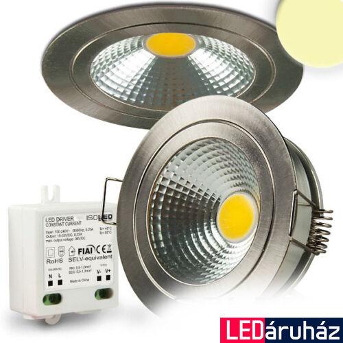 Süllyesztett tükrös COB LED mélysugárzó lámpa, szálcsiszolt nikkel, 5W, 400 lm, 2700K melegfehér, 120°