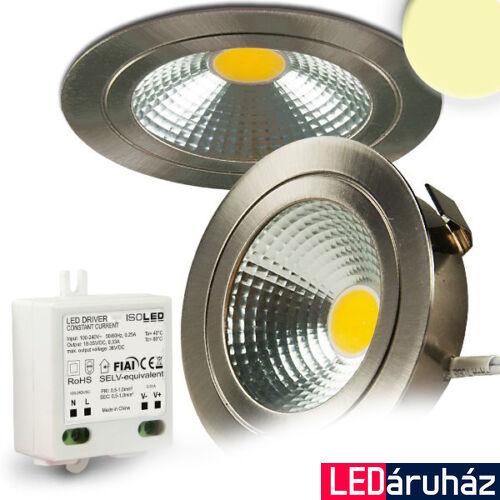 Süllyesztett tükrös COB LED mélysugárzó lámpa, szálcsiszolt nikkel, 3W, 240 lm, 2700K melegfehér, 120°