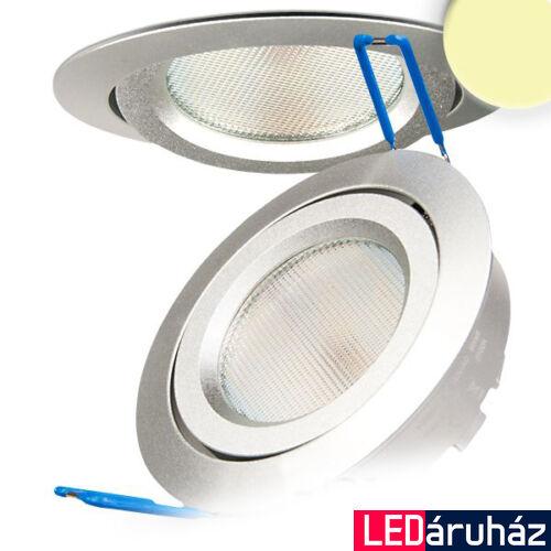 Süllyesztett LED lámpa, ezüst, 8W, 490 lm, 2700K melegfehér, 140°, fényerőszabályozható