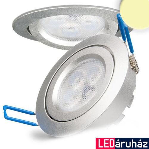 Süllyesztett LED lámpa, ezüst, 8W, 420 lm, 2700K melegfehér, 72°, fényerőszabályozható