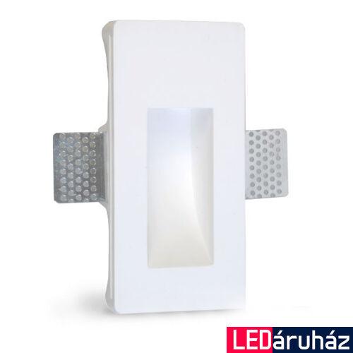 Fali gipsz süllyesztett festhető lábazati lámpatest - 80×165 mm – GU4/MR11 LED fényforrásokhoz