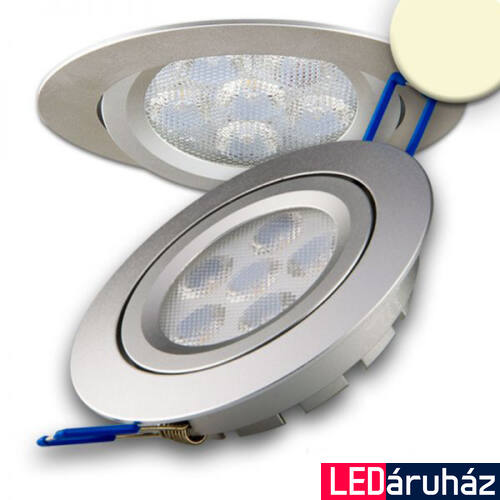 Süllyesztett LED spotlámpa, ezüst, 15W, 800 lm, 2700K melegfehér, 72°, fényerőszabályozható