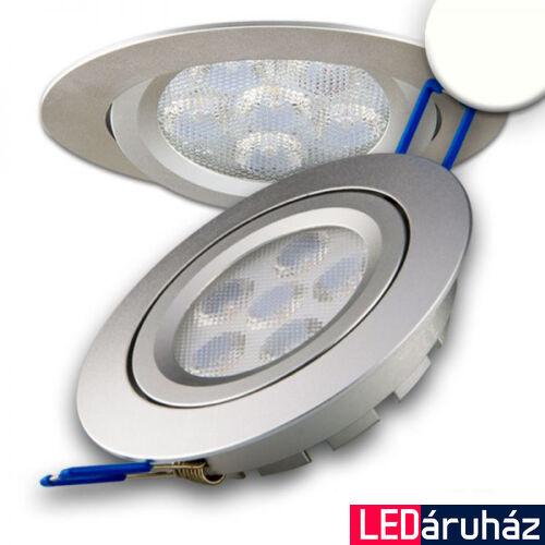Süllyesztett LED spotlámpa, ezüst, 15W, 850 lm, 4200K természetes fehér, 72°, fényerőszabályozható