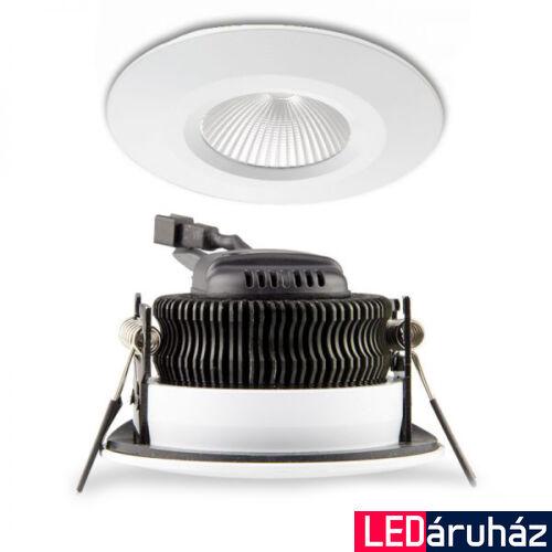 Süllyesztett COB LED lámpatest, 8W, 630lm, 3000K melegfehér, 45°, IP54, CRI81, fehér, fényerőszabályozható