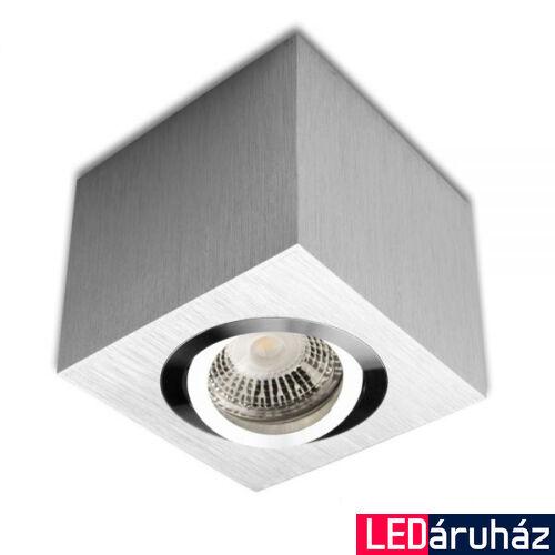 Mennyezeti szpot lámpatest GU10/MR16 LED fényforráshoz, szögletes, szálcsiszolt alumínium
