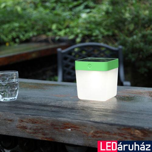 LUTEC Table Cube szolár hordozható asztali lámpa, 1W, 100 lm, 3000K melegfehér, IP44, zöld, LUTEC-6908001339, P9080-3K grn