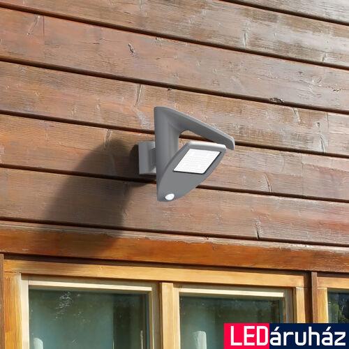 LUTEC Zeta szolár kültéri fali lámpa, 2,4W, 200 lm, 4000K természetes fehér, IP44, mozgásérzékelővel, szürke, LUTEC-6901101000, P9011 si