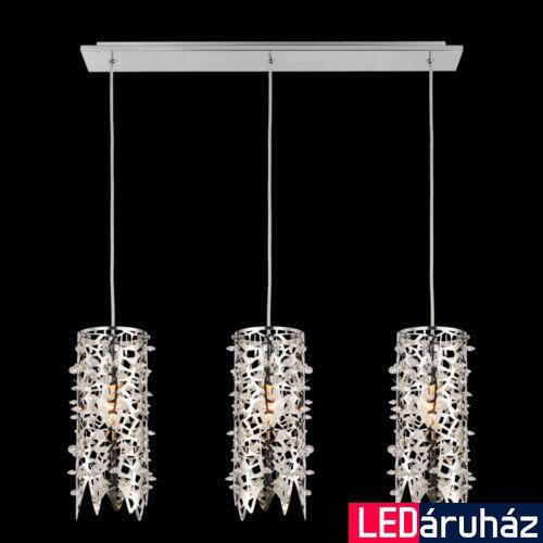 LUXERA VITRA többágú függeszték kristály hatás 3 foglalattal, rozsdamentes acél (inox), E14, 64366