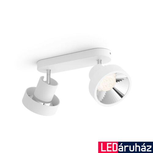 Philips Bukko fehér mennyezeti LED szpotlámpa, beépített LED, SceneSwitch, fényerőszabályozható, 2x430 lm, 2x4,5W