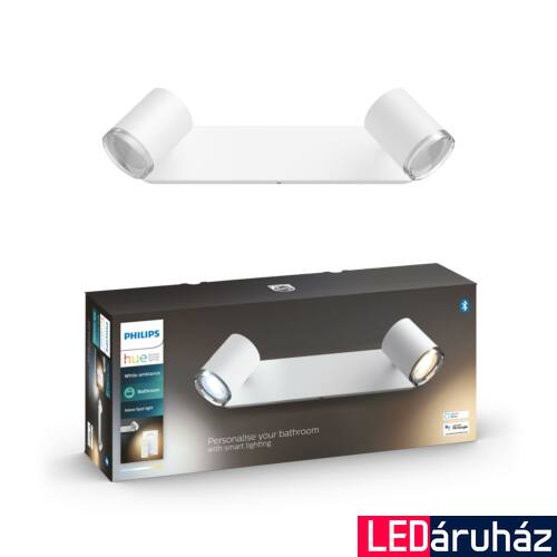 Philips Hue Adore LED fali tükör megvilágító lámpa, fürdőszobába, fehér, 3xGU10, 5,5W, 24V, IP44, White Ambiance, 2200-6500K+DimSwitch, Bluetooth+Zigbee, 3417931P6