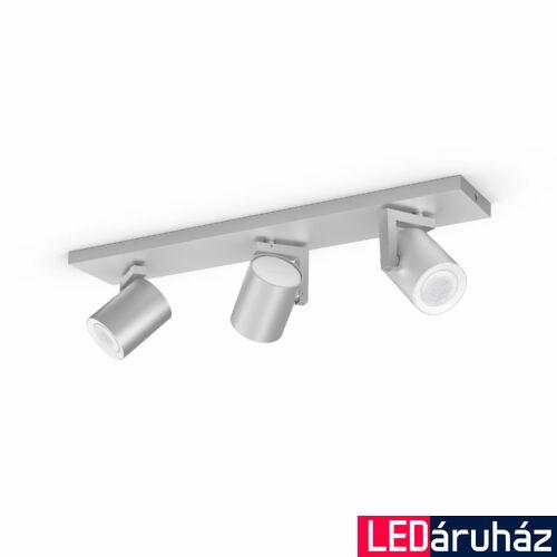 Philips Hue Argenta alumínium hármas mennyezeti LED spot, RGBW, GU10 fényforrással, 5062348P7, Bluetooth+Zigbee