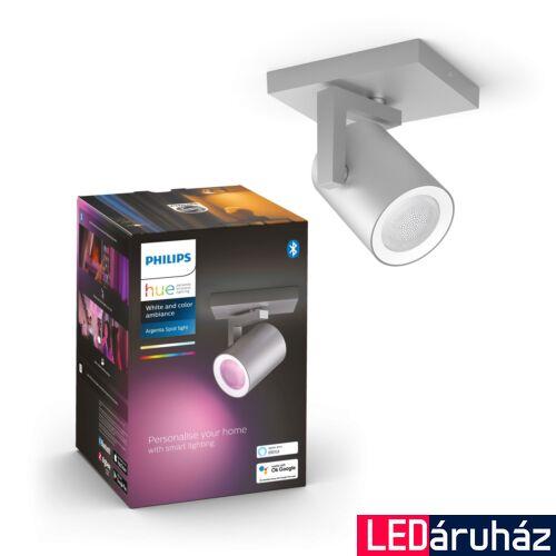 Philips Hue Argenta alumínium mennyezeti LED spot, RGBW, GU10 fényforrással, 5062148P7, Bluetooth+Zigbee