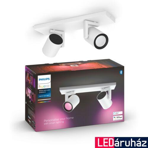 Philips Hue Argenta fehér dupla mennyezeti LED spot, RGBW, GU10 fényforrással, 5062231P7, Bluetooth+Zigbee