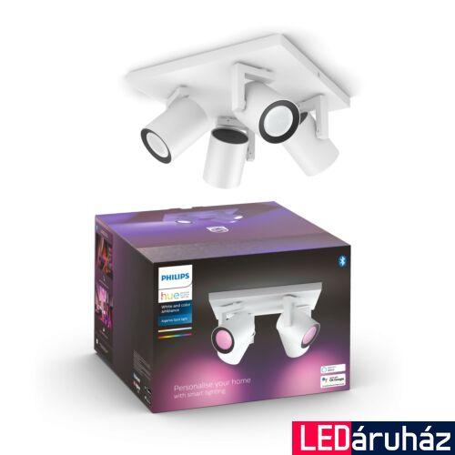 Philips Hue Argenta fehér négyes mennyezeti LED spot, RGBW, GU10 fényforrással, 5062431P7, Bluetooth+Zigbee