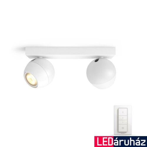 Philips Hue Buckram LED mennyezeti dupla spotlámpa, fehér, White Ambiance, 2200K-6500K 2xGU10+DimSwitch, Bluetooth+Zigbee, 5047231P6