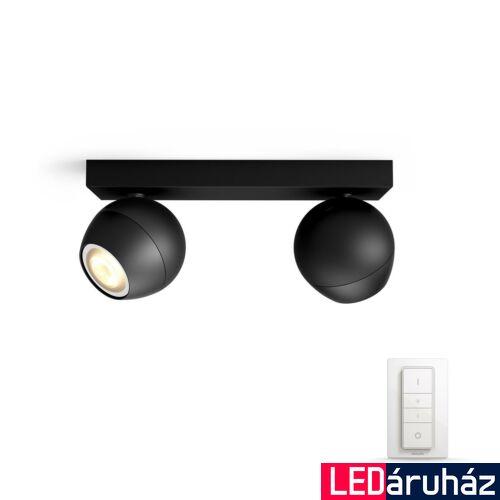 Philips Hue Buckram LED mennyezeti dupla spotlámpa, fekete, White Ambiance, 2200K-6500K 2xGU10+DimSwitch, Bluetooth+Zigbee, 5047230P6
