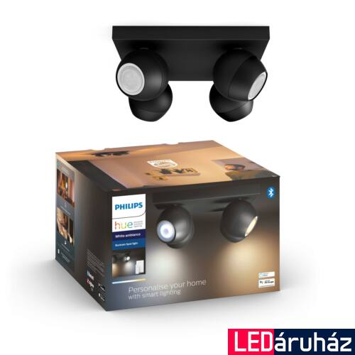 Philips Hue Buckram LED mennyezeti négyes spotlámpa, fekete, White Ambiance, 2200K-6500K 4xGU10+DimSwitch, Bluetooth+Zigbee, 5047430P6