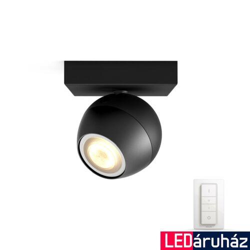Philips Hue Buckram LED mennyezeti spotlámpa, fekete, White Ambiance, 2200K-6500K GU10+DimSwitch, Bluetooth+Zigbee, 5047130P6