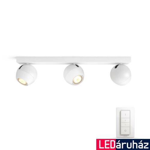 Philips Hue Buckram LED mennyezeti tripla spotlámpa, fehér, White Ambiance, 2200K-6500K 3xGU10+DimSwitch, Bluetooth+Zigbee, 5047331P6