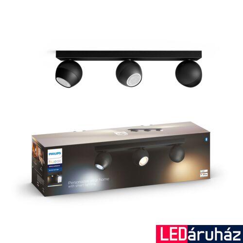 Philips Hue Buckram LED mennyezeti tripla spotlámpa, fekete, White Ambiance, 2200K-6500K 3xGU10+DimSwitch, Bluetooth+Zigbee, 5047330P6