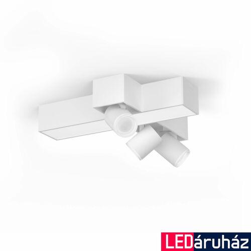 Philips Hue Centris mennyezeti lámpa, keresztben 3db. irányítható LED spotfejjel, White and Color Ambiance, RGBW, 25W beépített LED+3xGU10, 1050 lm, fehér, Bluetooth+Zigbee, 5060831P7