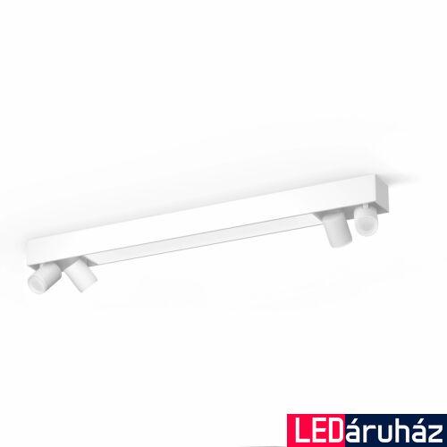 Philips Hue Centris mennyezeti lámpa, két oldalt 4db. Irányítható LED spotfejjel, White and Color Ambiance, RGBW, 62,8W beépített LED+4.GU10, 4200 lm, fehér, Bluetooth+Zigbee, 5060731P7