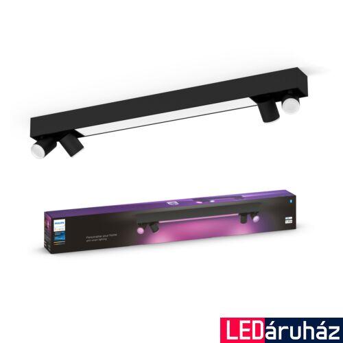 Philips Hue Centris mennyezeti lámpa, két oldalt 4db. Irányítható LED spotfejjel, White and Color Ambiance, RGBW, 62,8W beépített LED+4.GU10, 4200 lm, fekete, Bluetooth+Zigbee, 5060730P7