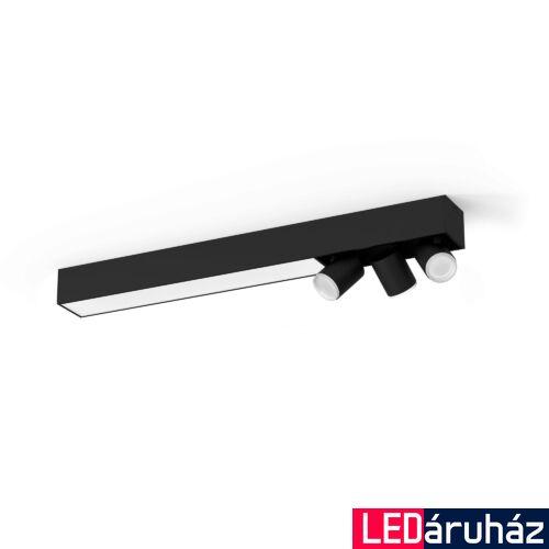 Philips Hue Centris mennyezeti lámpa 3db. irányítható LED spotfejjel, White and Color Ambiance, RGBW, 53,1W beépített LED+3xGU10, 3650 lm, fekete, Bluetooth+Zigbee, 5060930P7