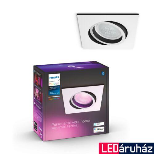 Philips Hue Centura fehér LED mennyezeti spot, négyzet, RGBW, GU10 fényforrással, 350 lm, 5055131P7, Bluetooth+Zigbee