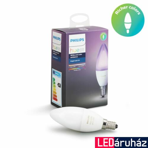 Philips Hue E14 RGBW LED fényforrás - 6.5W - White and Color Ambiance, 8718696695166
