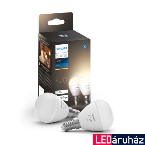 Philips Hue E14 White 2700K LED dupla csomag, kisgömb, 2x5,5W, 2x470 lm, Bluetooth+Zigbee, 8719514266902