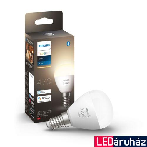 Philips Hue E14 White 2700K LED fényforrás, kisgömb, 5,5W, 470 lm, Bluetooth+Zigbee, 8719514266889